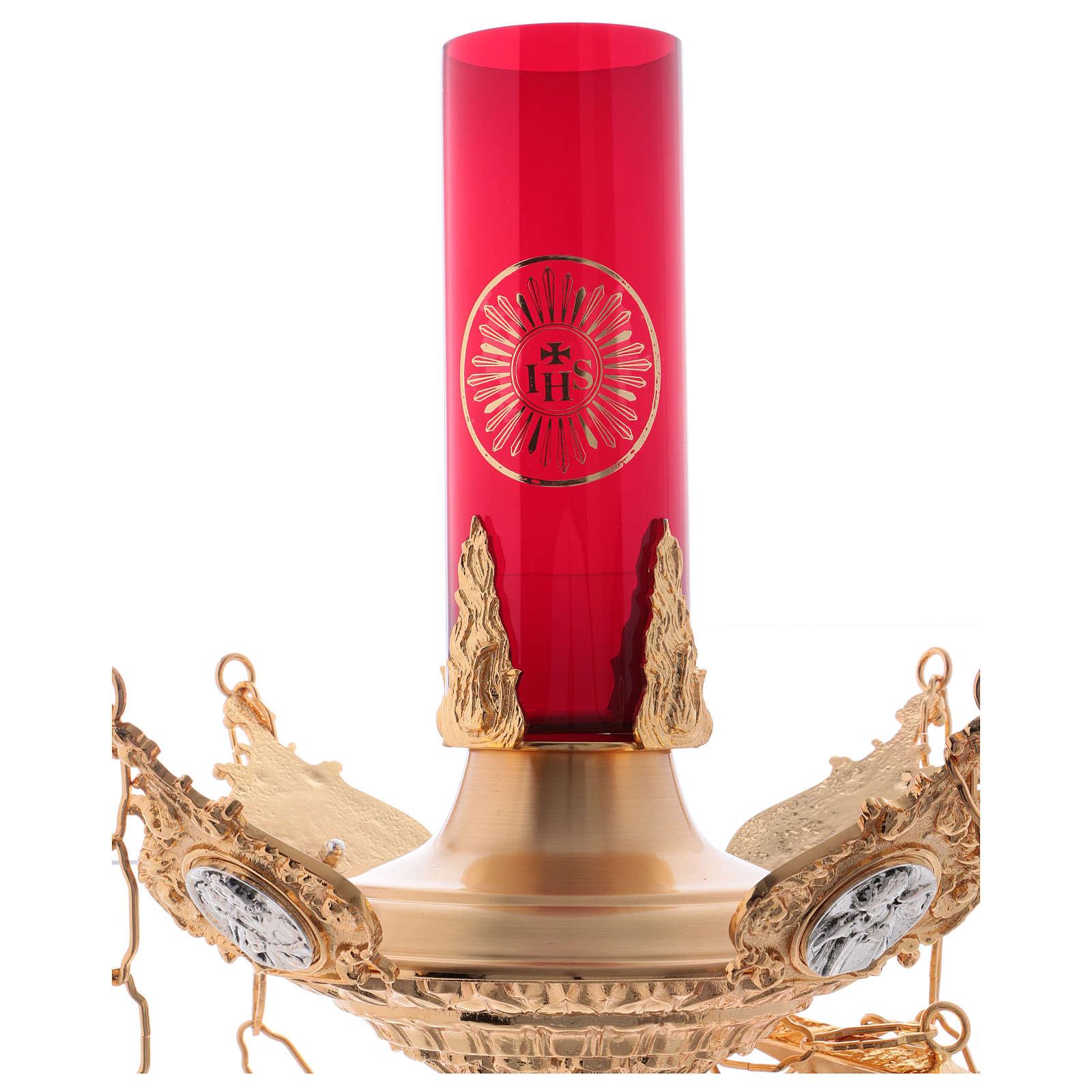 Lámpara para el Santísimo para colgar Cuatros Evangelistas Latón Fundido 3