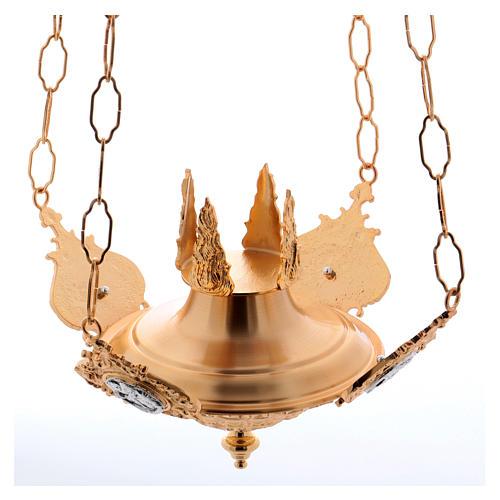 Lámpara para el Santísimo para colgar Cuatros Evangelistas Latón Fundido 2