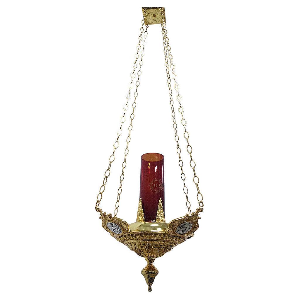 Lampe suspendue quatre évangélistes laiton moulé 3