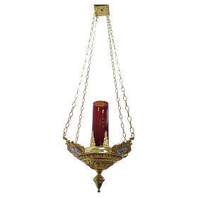 Lampe suspendue quatre évangélistes laiton moulé s1