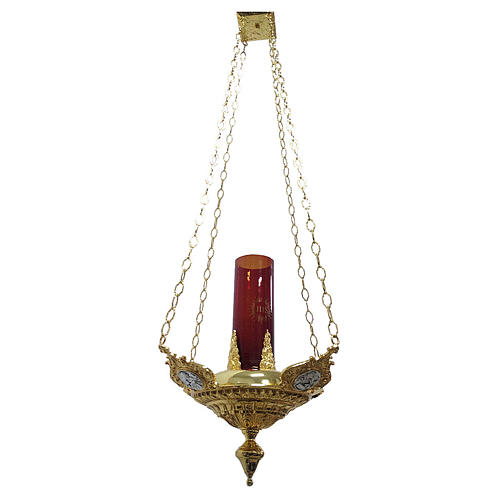 Lampe suspendue quatre évangélistes laiton moulé 1