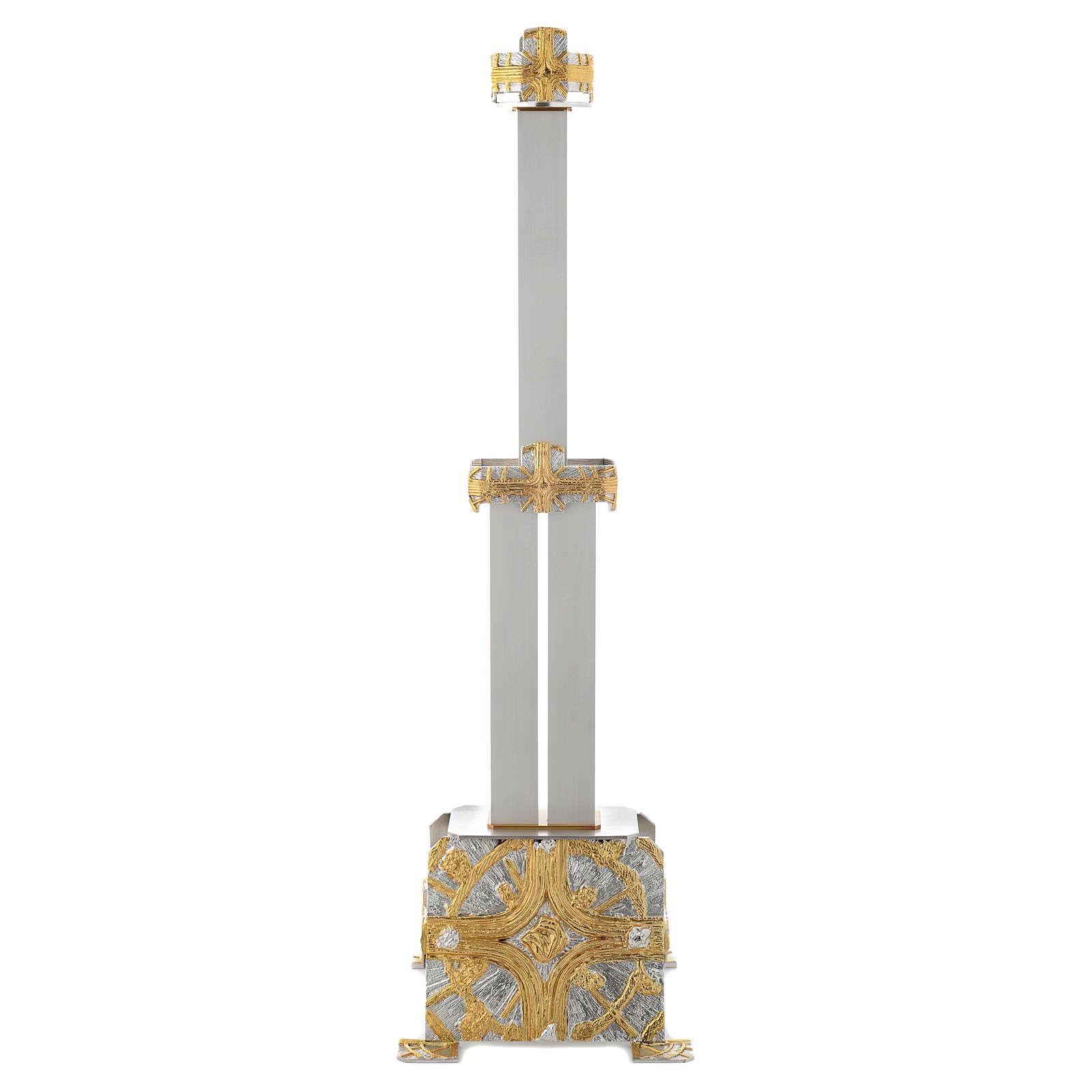 Lampada Santissimo a stelo ottone croce stilizzata 3