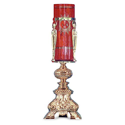 Lampada per tabernacolo ottone fuso dorato h 38 cm 1