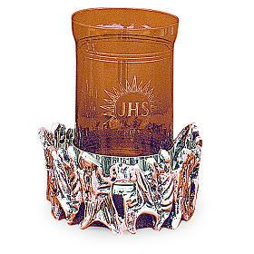 Lampada Santissimo ottone fuso argentato h 11 cm s1