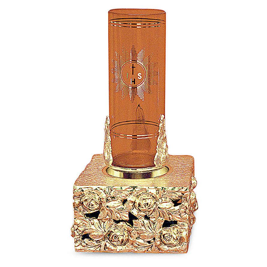 Lampada tabernacolo foglie ottone dorato fuso 16x9x9 3