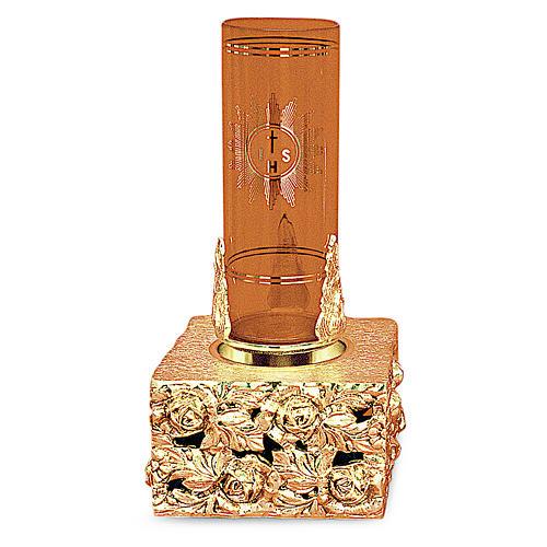 Lampada tabernacolo foglie ottone dorato fuso 16x9x9 1