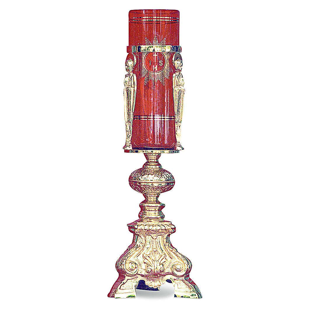 Lampada Santissimo barocco ottone dorato fuso h 38 cm 3