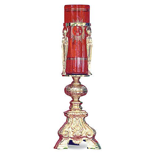 Lampada Santissimo barocco ottone dorato fuso h 38 cm 1