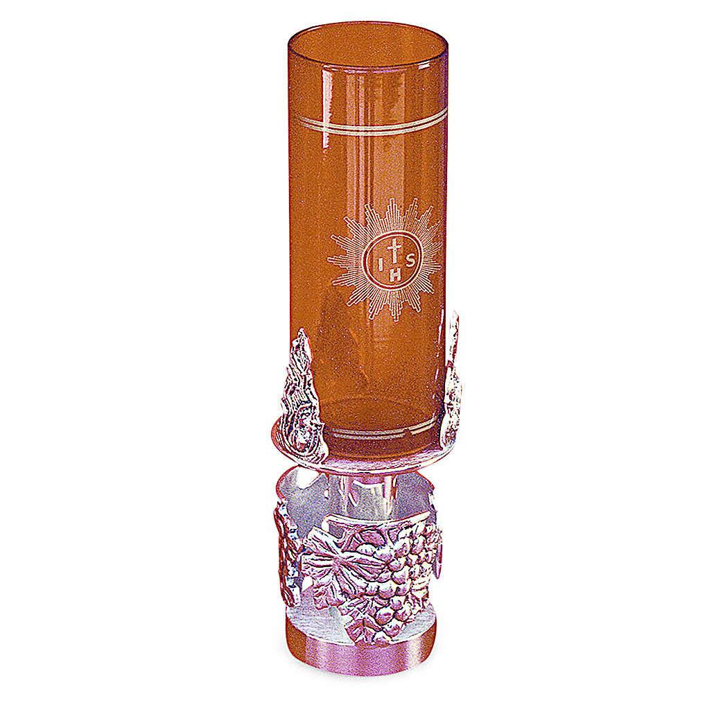 Lámpara Santísimo latón fundido plateado 19 cm de altura 3