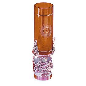 Lampada Santissimo ottone fuso argentato 19 cm altezza s1