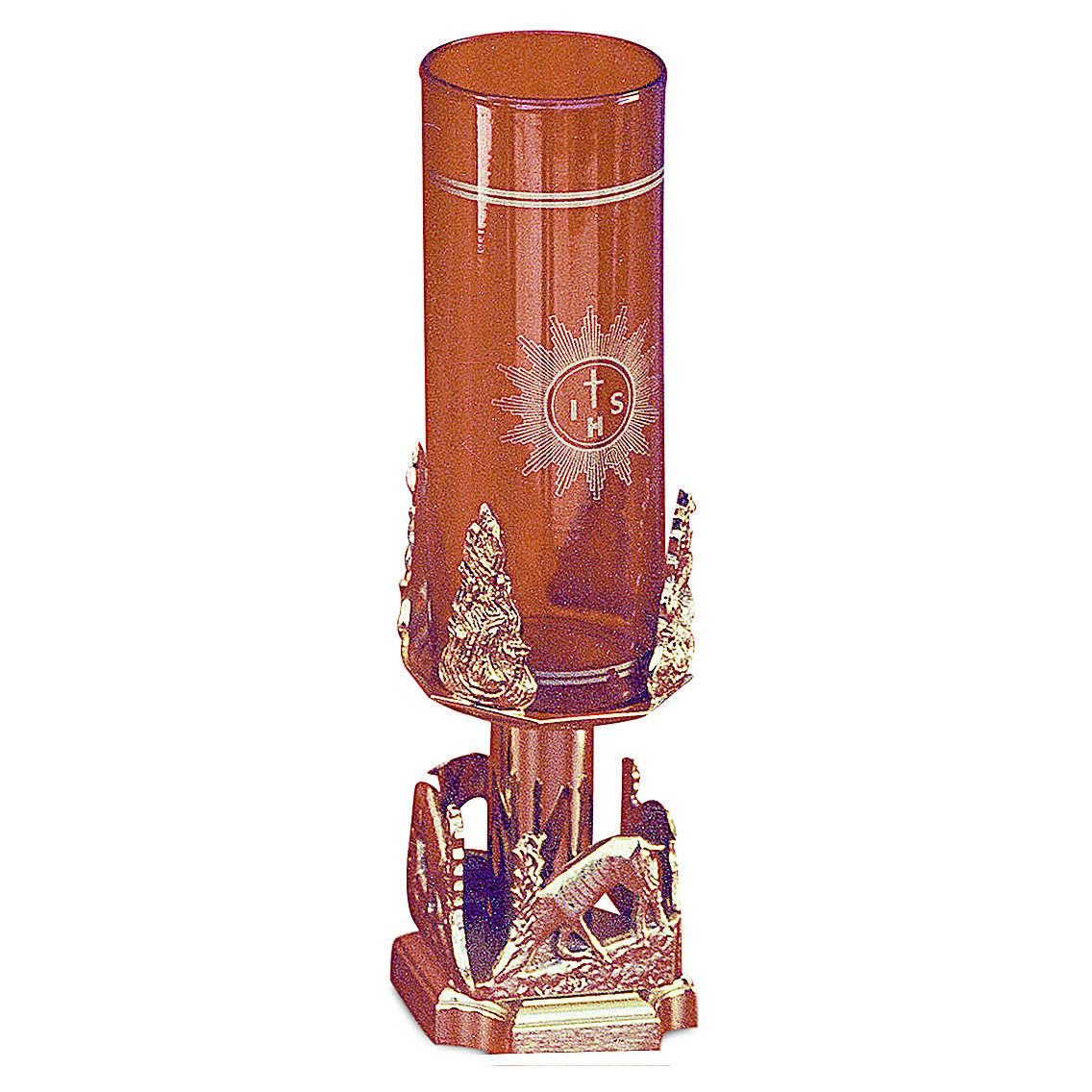Lampada Santissimo cervi alla fonte ottone dorato h 20 cm 3