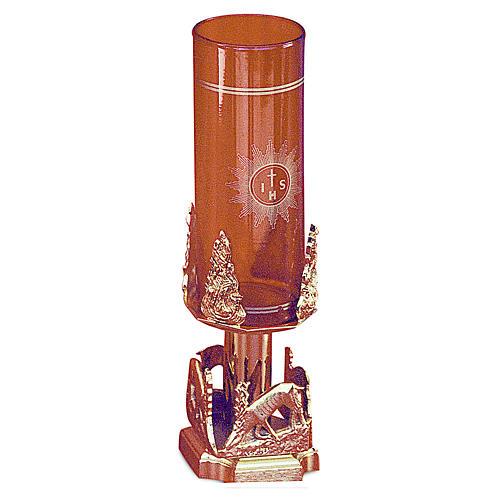 Lampada Santissimo cervi alla fonte ottone dorato h 20 cm 1