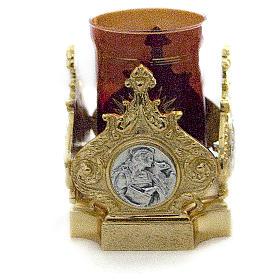 Lampada Santissimo ottone fuso dorato 11x11 cm s1