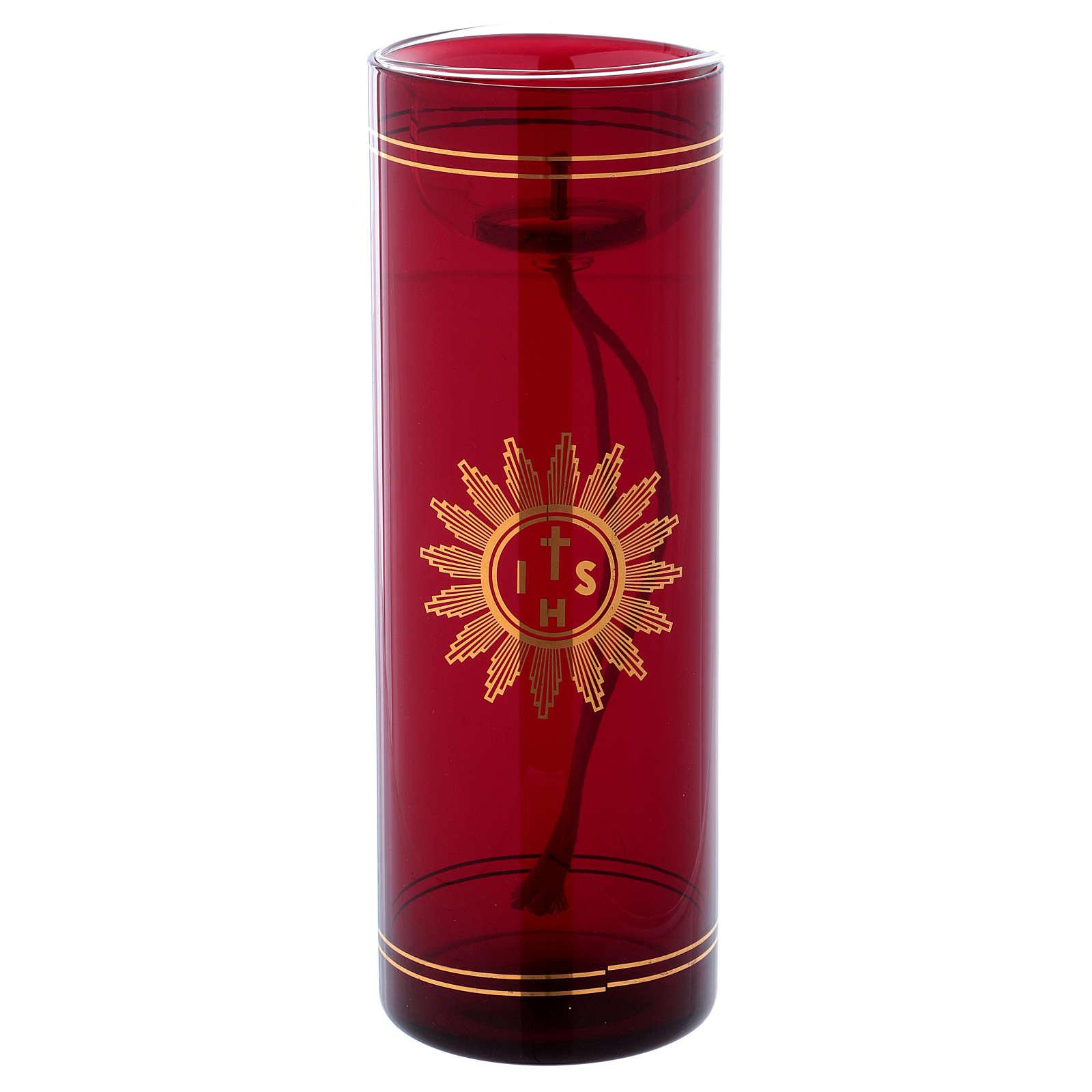 Vetro rosso per Santissimo con simbolo IHS 20 cm 3
