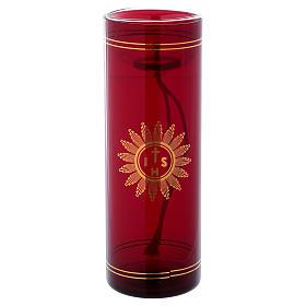Vetro rosso per Santissimo con simbolo IHS 20 cm s1