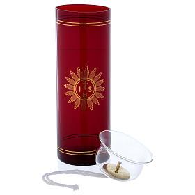 Vetro rosso per Santissimo con simbolo IHS 20 cm s2