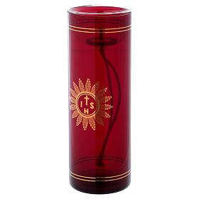 Vetro rosso per Santissimo con simbolo IHS 20 cm s3