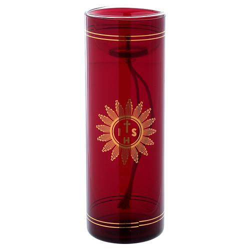 Vetro rosso per Santissimo con simbolo IHS 20 cm 1
