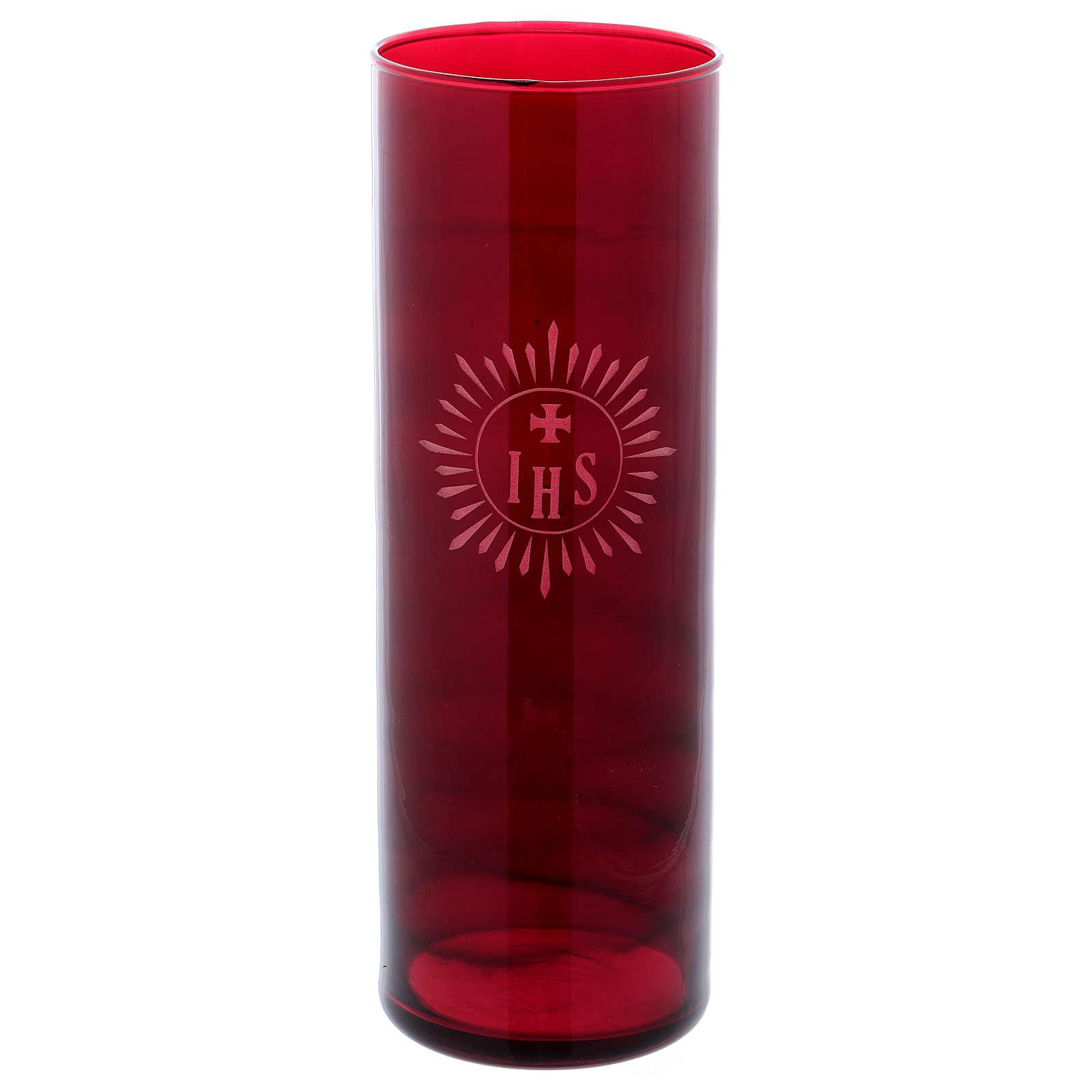 Porte-bougie verre rouge IHS 3