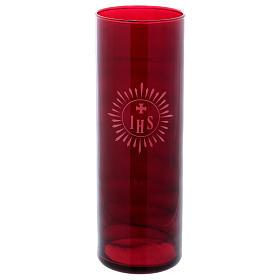 Porte-bougie verre rouge IHS s1