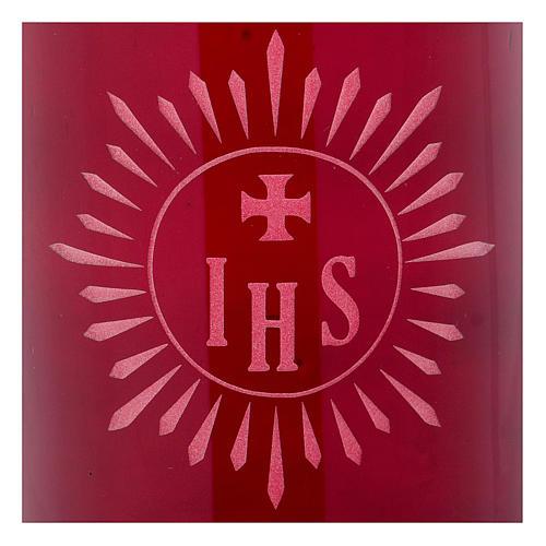 Porte-bougie verre rouge IHS 2