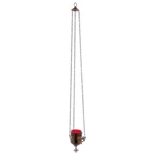 Lampada per il santissimo in ottone color bronzo 15 cm 1