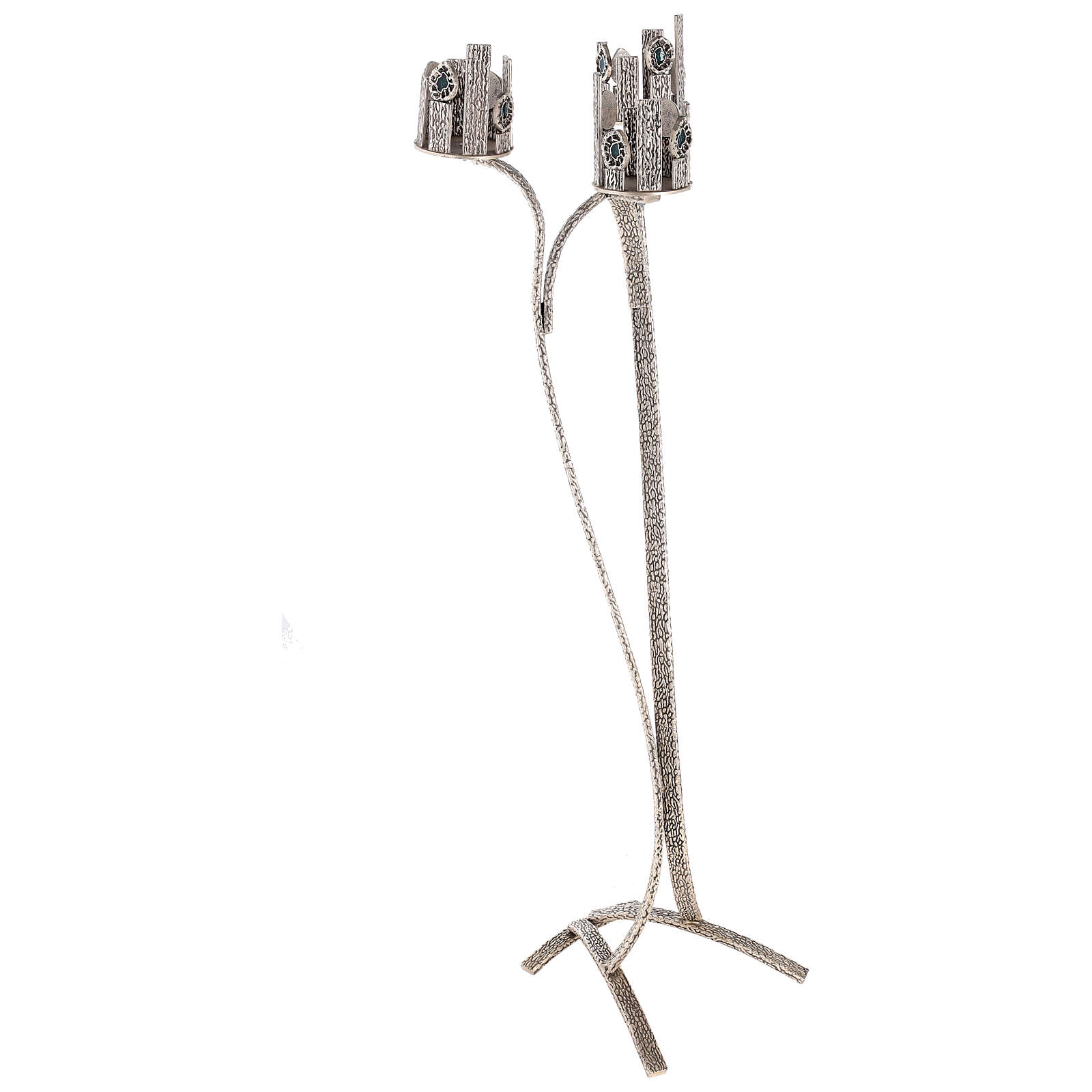 Lampada per Santissimo con 3 porta ceri h. 110 cm 4