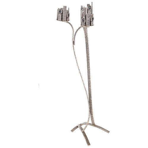 Lampada per Santissimo con 3 porta ceri h. 110 cm 5
