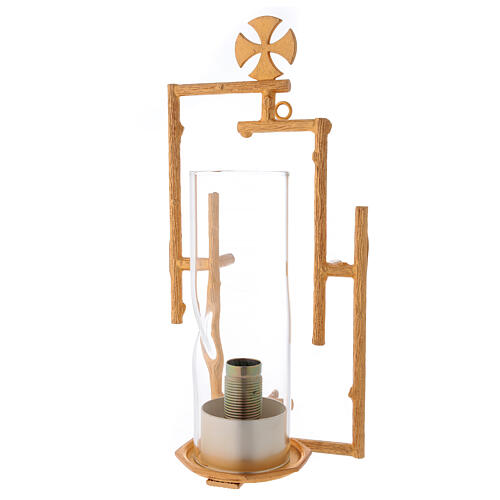 Sanctuary wall lamp in cast brass and glass 1