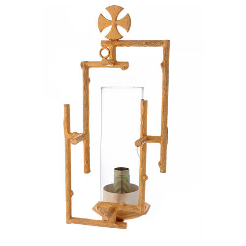 Sanctuary wall lamp in cast brass and glass 3