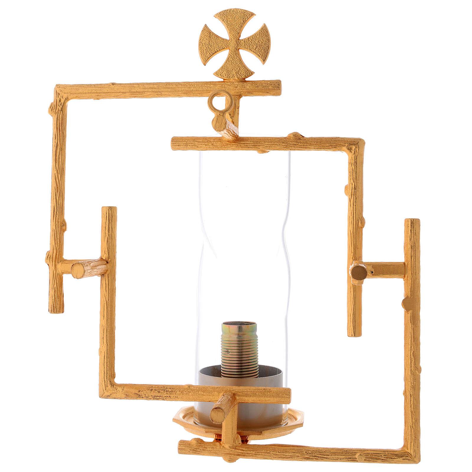 Applique da muro in ottone fuso con vetro 3