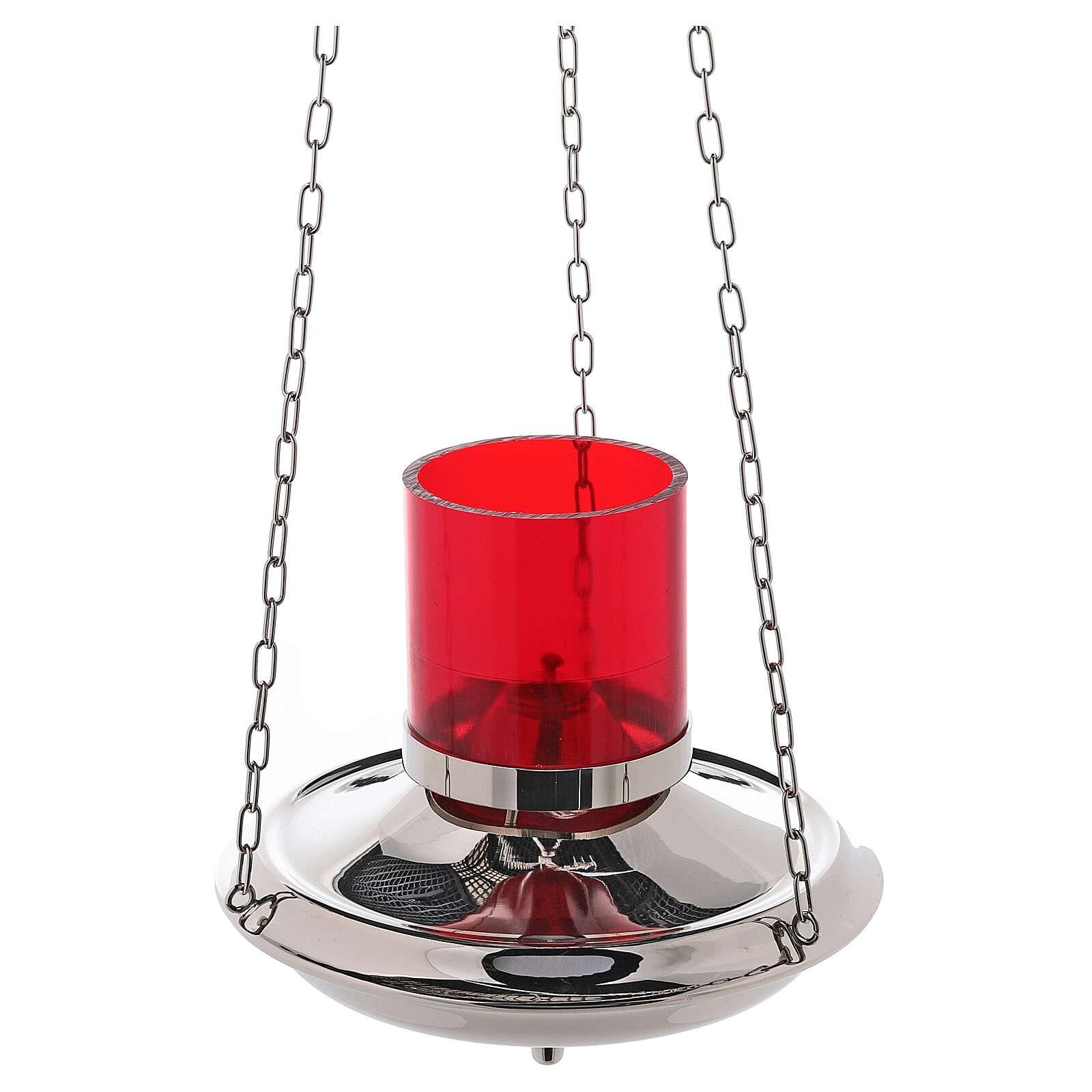 Lámpara Santísimo latón color plata cadenas 3