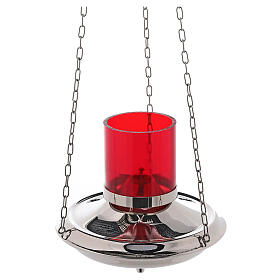 Lámpara Santísimo latón color plata cadenas s2