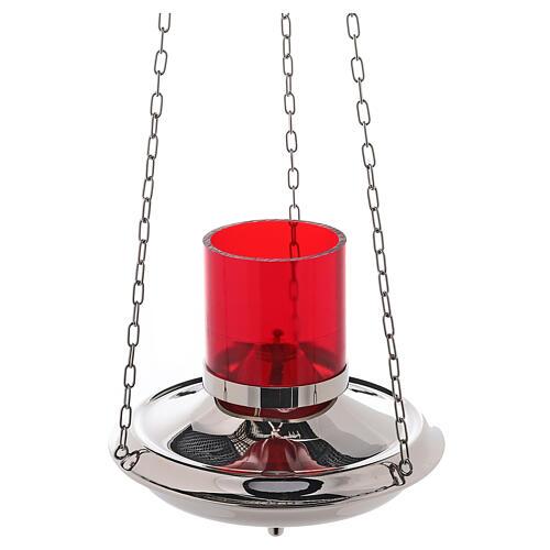 Lámpara Santísimo latón color plata cadenas 2