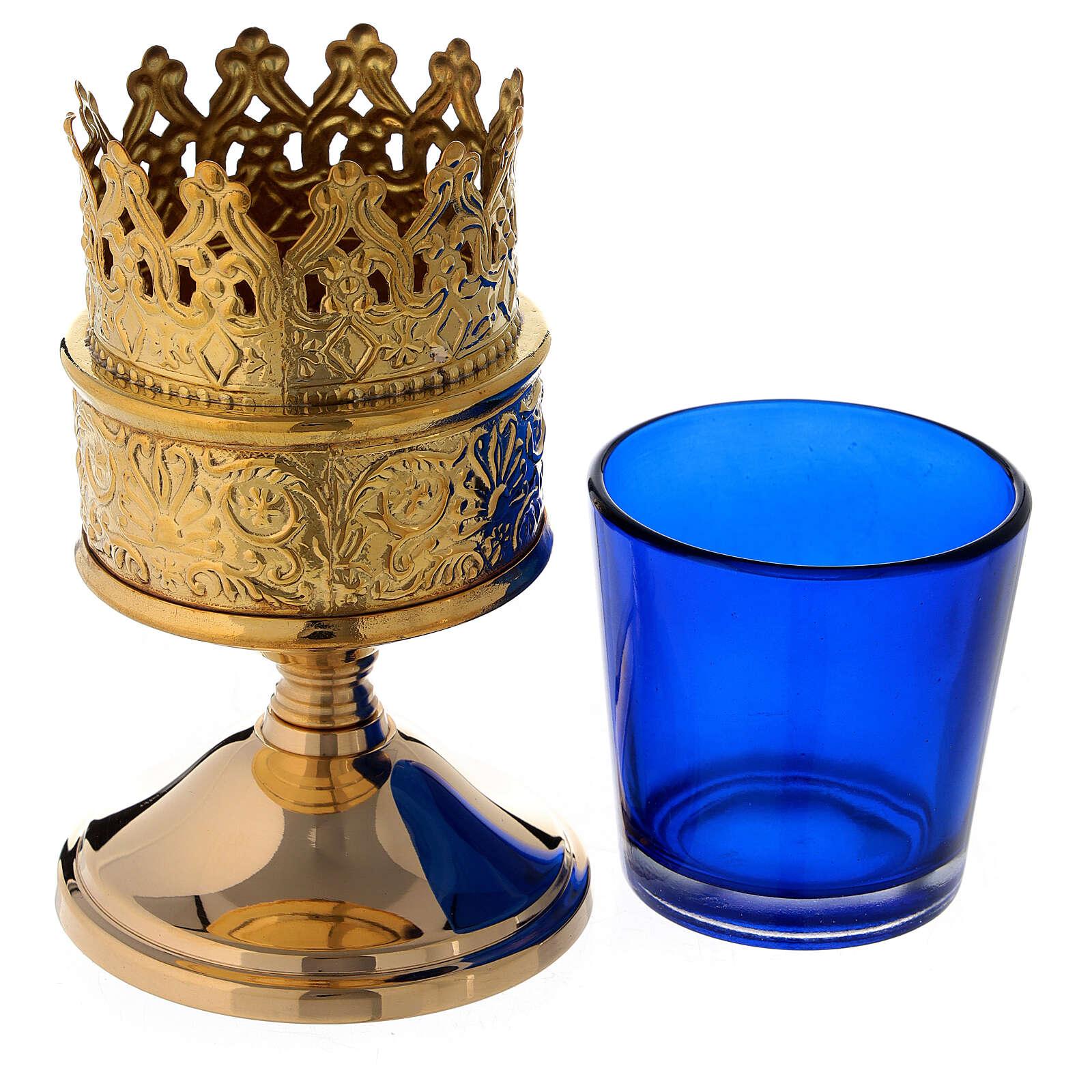 Lanterna da tabernacolo vetro blu ottone dorato altezza 13 cm 3