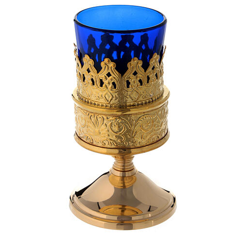 Freestanding gold plated brass Sanctuary lamp with blue shade h 5 in 1