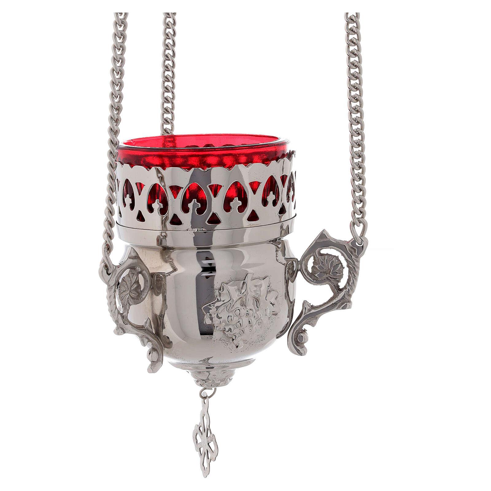 Linterna sagrario latón vidrio rojo con gancho 15 cm 3