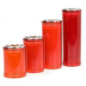 Votive candles: Red votive candle with yellow wax