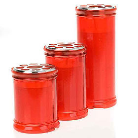 Lampe votive rouge, cire blanche s1