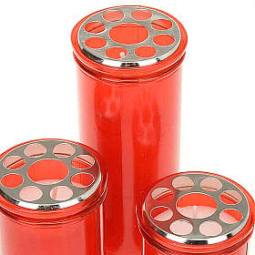 Lampe votive rouge, cire blanche s2