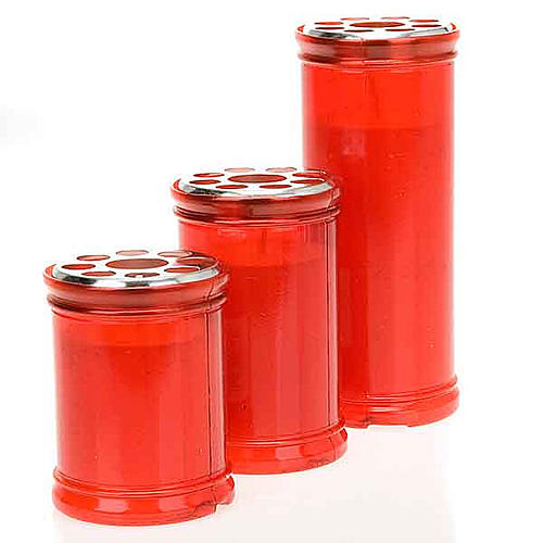 Lampe votive rouge, cire blanche 1