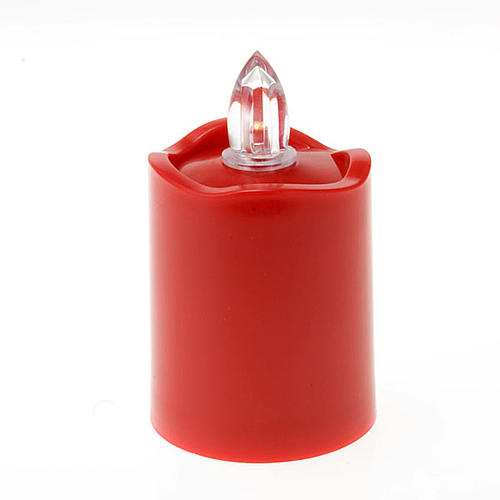 LED votive candle, red with wavy rim 1