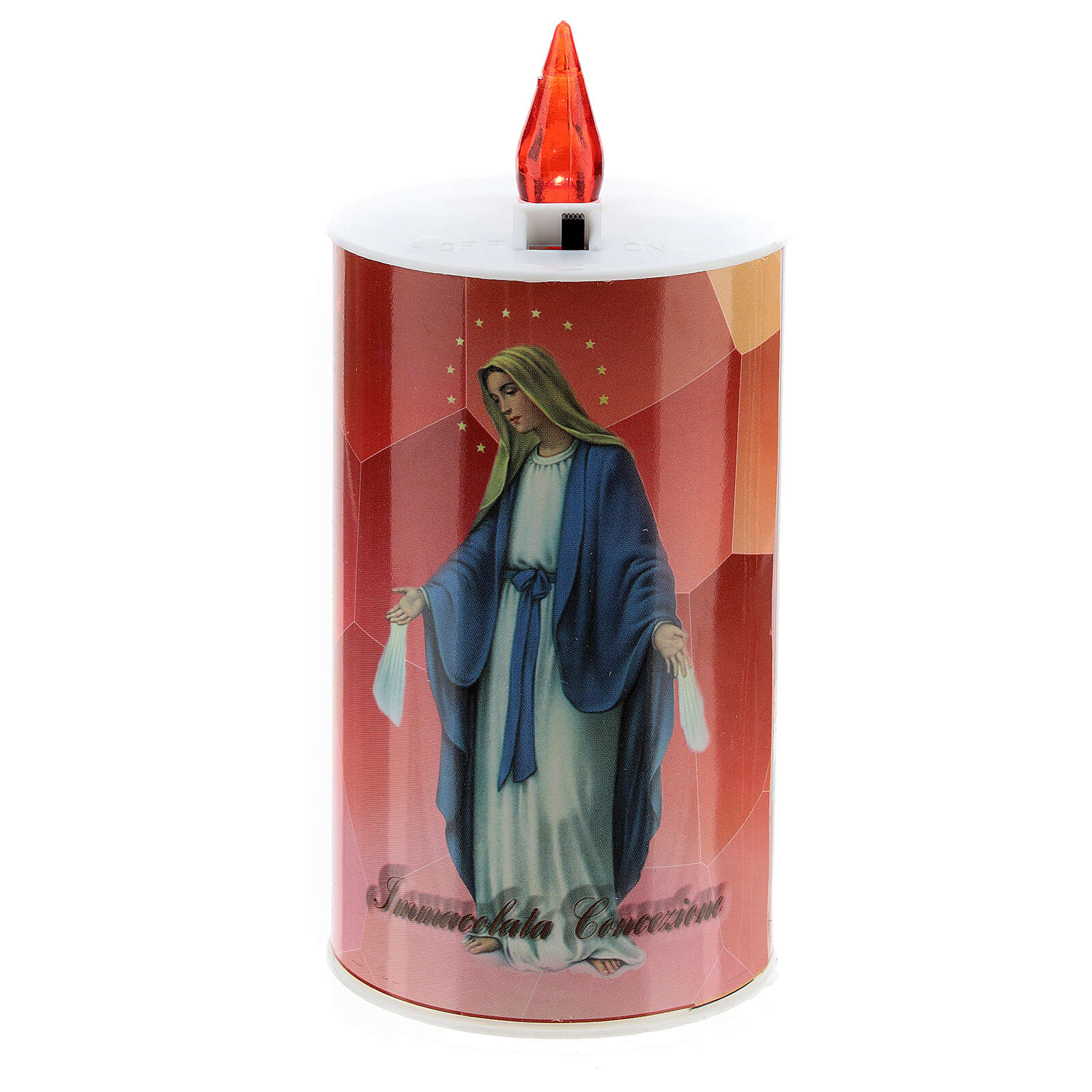 LED votive candle, ecological, red with image, lasting 70 days 3