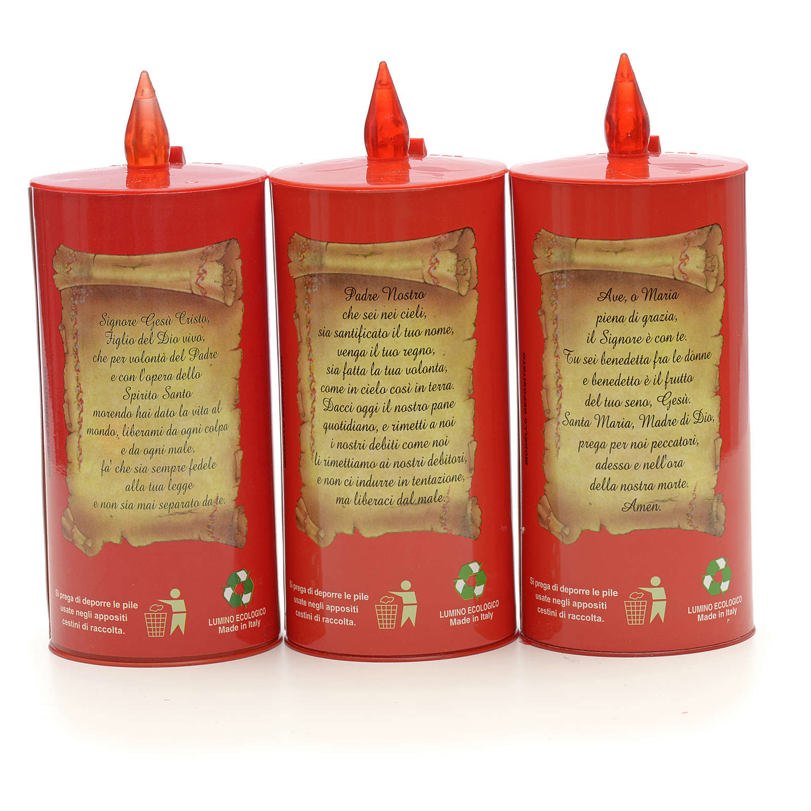 Electric votive candle, ecological in red cardboard, lasting 70 3