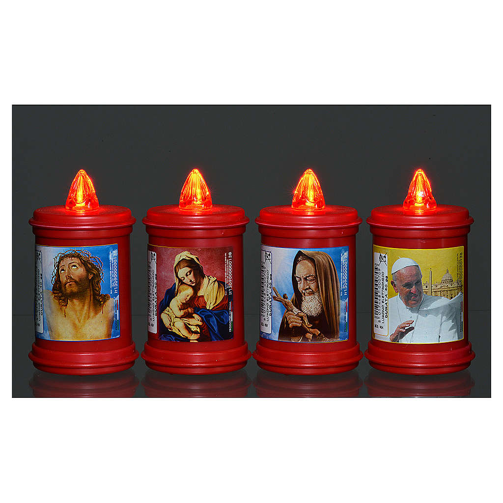 Votive candle in red plastic, electric, lasting 40 days 3