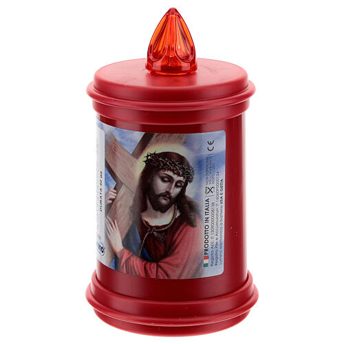 Votive candle in red plastic, electric, lasting 40 days 1