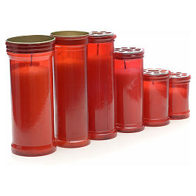 Red votive candle in white wax, various sizes s1
