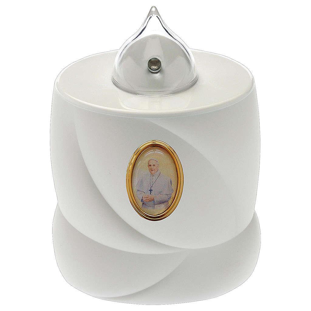 Vela a pilas Lumada blanca cruz luz fija Papa Francisco 3