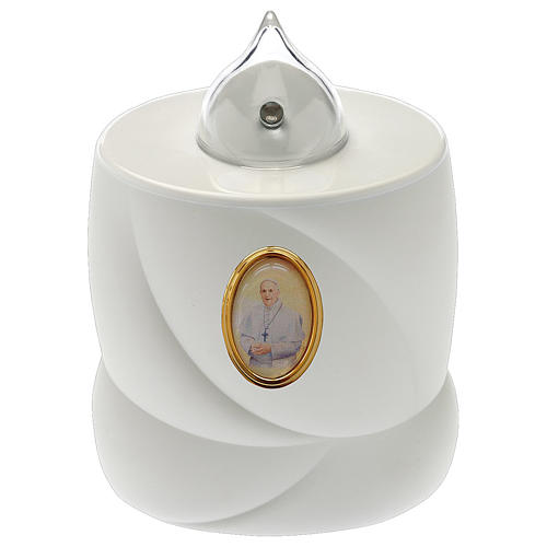 Vela a pilas Lumada blanca cruz luz fija Papa Francisco 1
