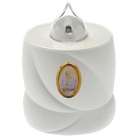 Velas Votivas: Vela a pilha Lumada branca luz fixa Papa Francisco